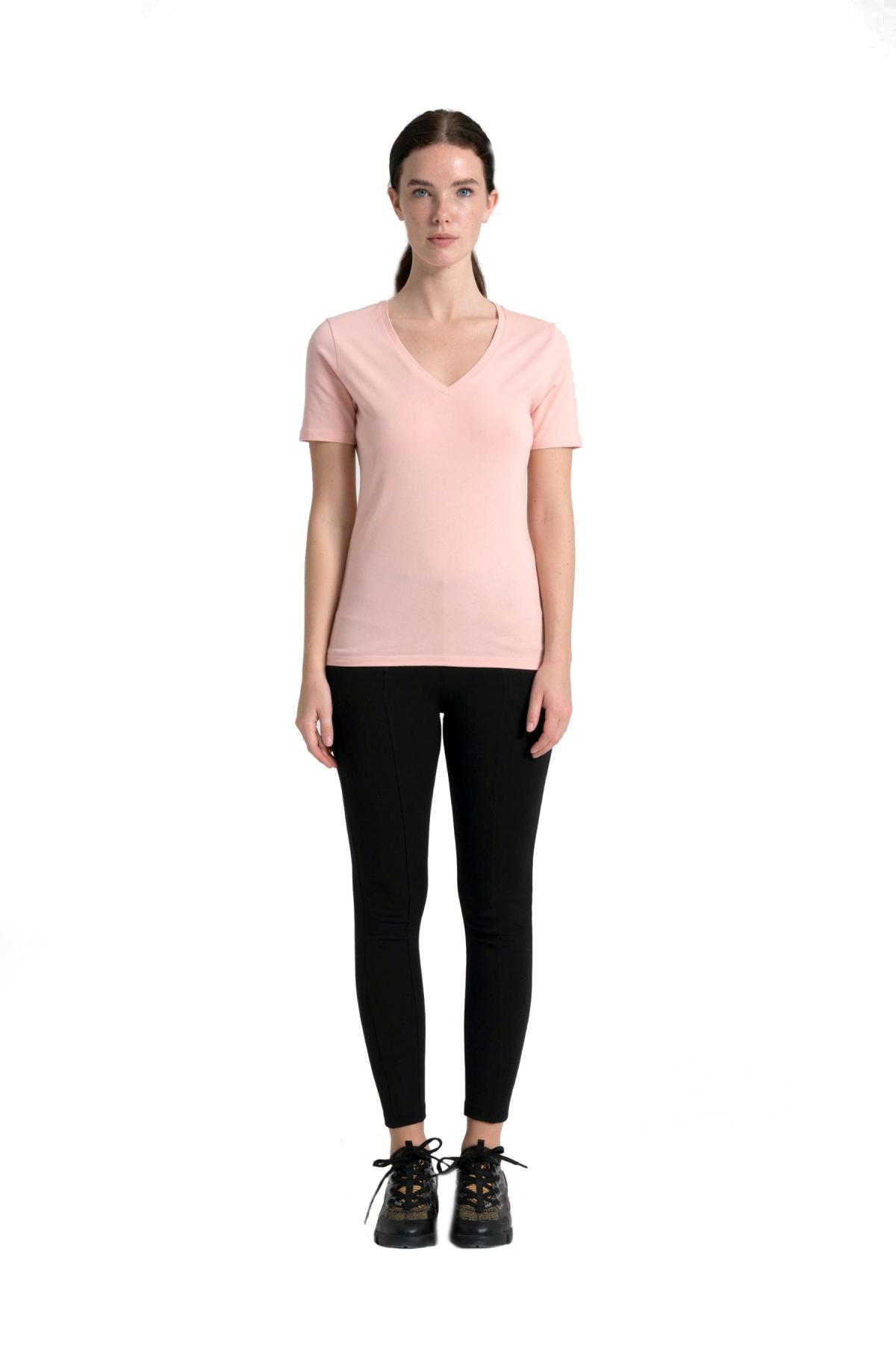 Neck Stone Detailed 95% Cotton T-Shirt newces-1000-P