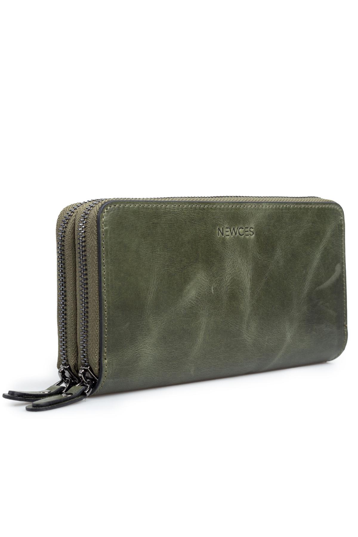 Double Zipper Money Portfolio Bag newces-007-GR