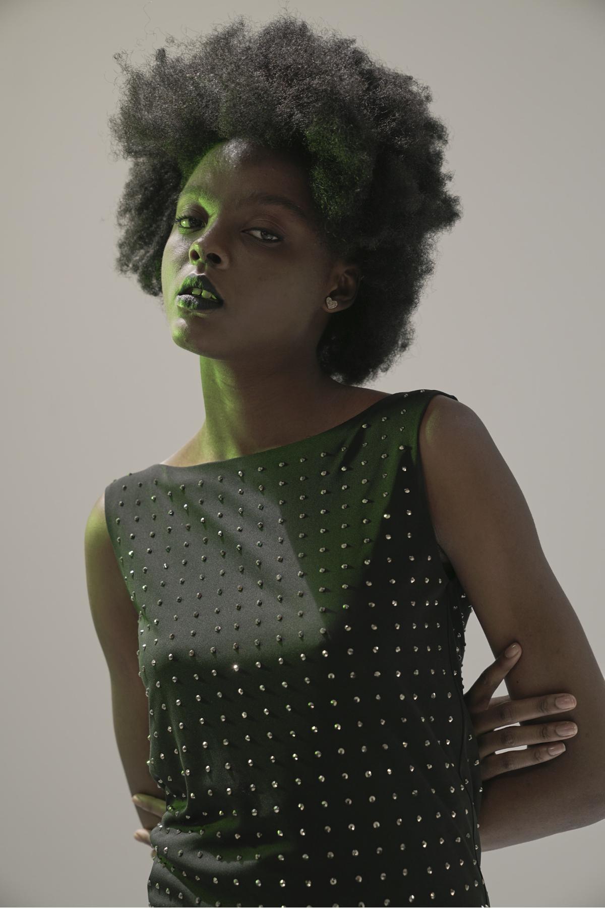 DMC Stone Detailed Black Mini Dress newces-1034-B